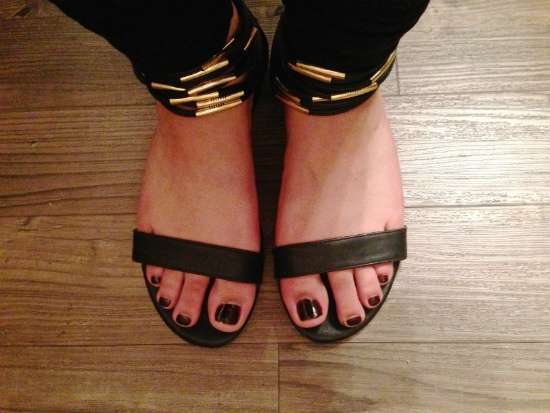 strappy black and gold sandals