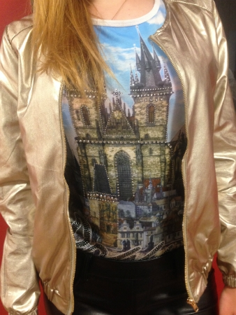 gold jacket and Prague tee