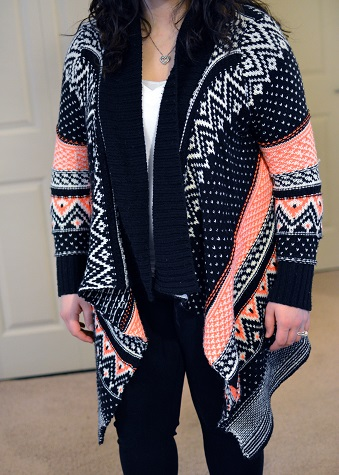 colorful patterned cardigan