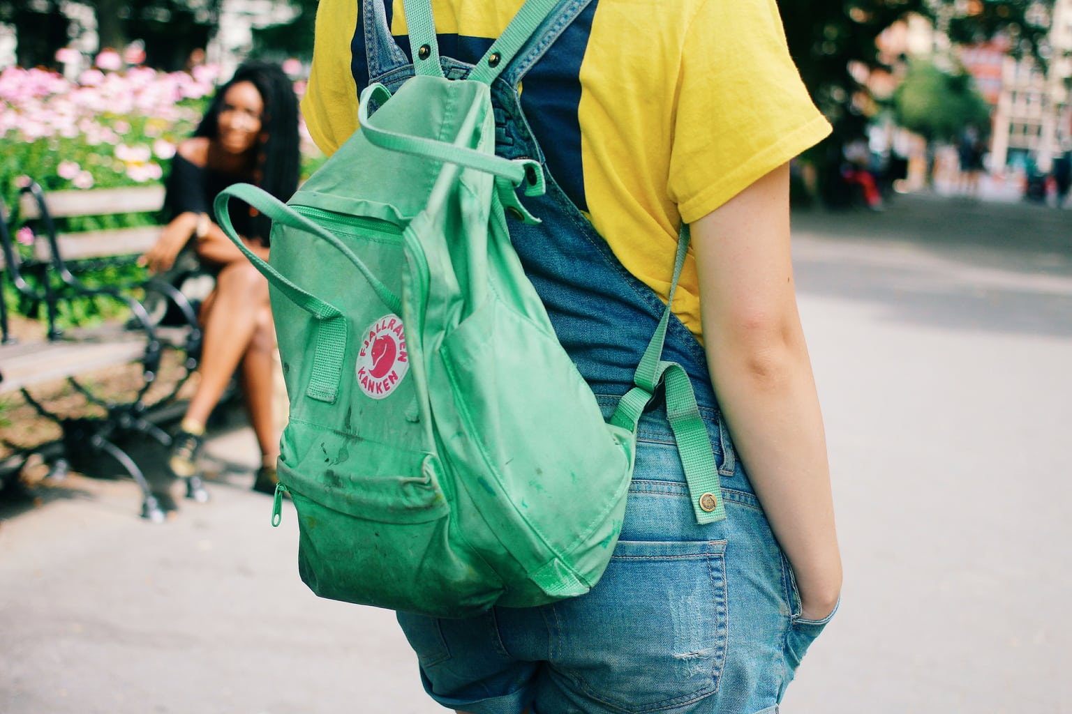 Fashion at School of Visual Arts, NYC - student Kaylee wears a trendy Fjallraven backpack in green