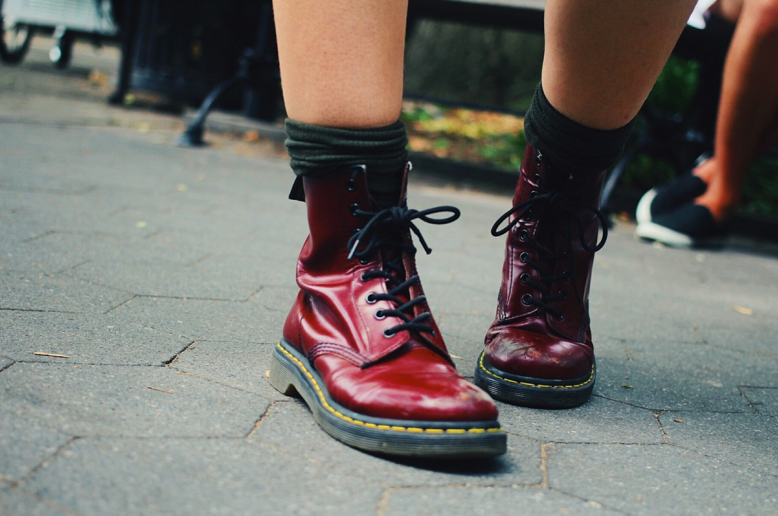 Fashion at School of Visual Arts, NYC - student Kaylee wears the latest college styles and trends, including Doc Martens maroon boots