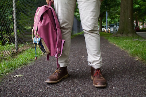 pink backpack and Clarks