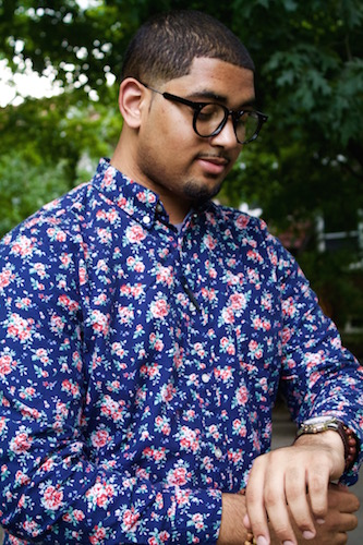 men's floral print button-up