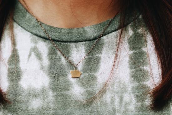 iowa charm necklace