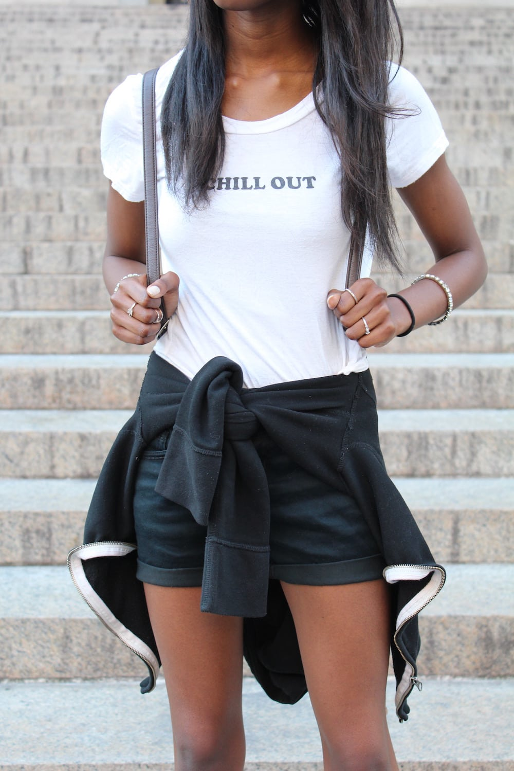 College fashion trends: Graphic tee with the words Chill Out worn by a University of Missouri fashionista in NYC