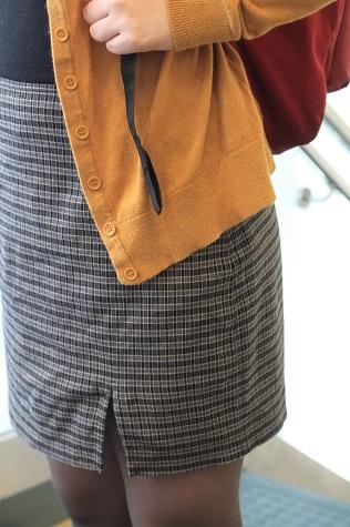 Mustard cardigan and plaid dress