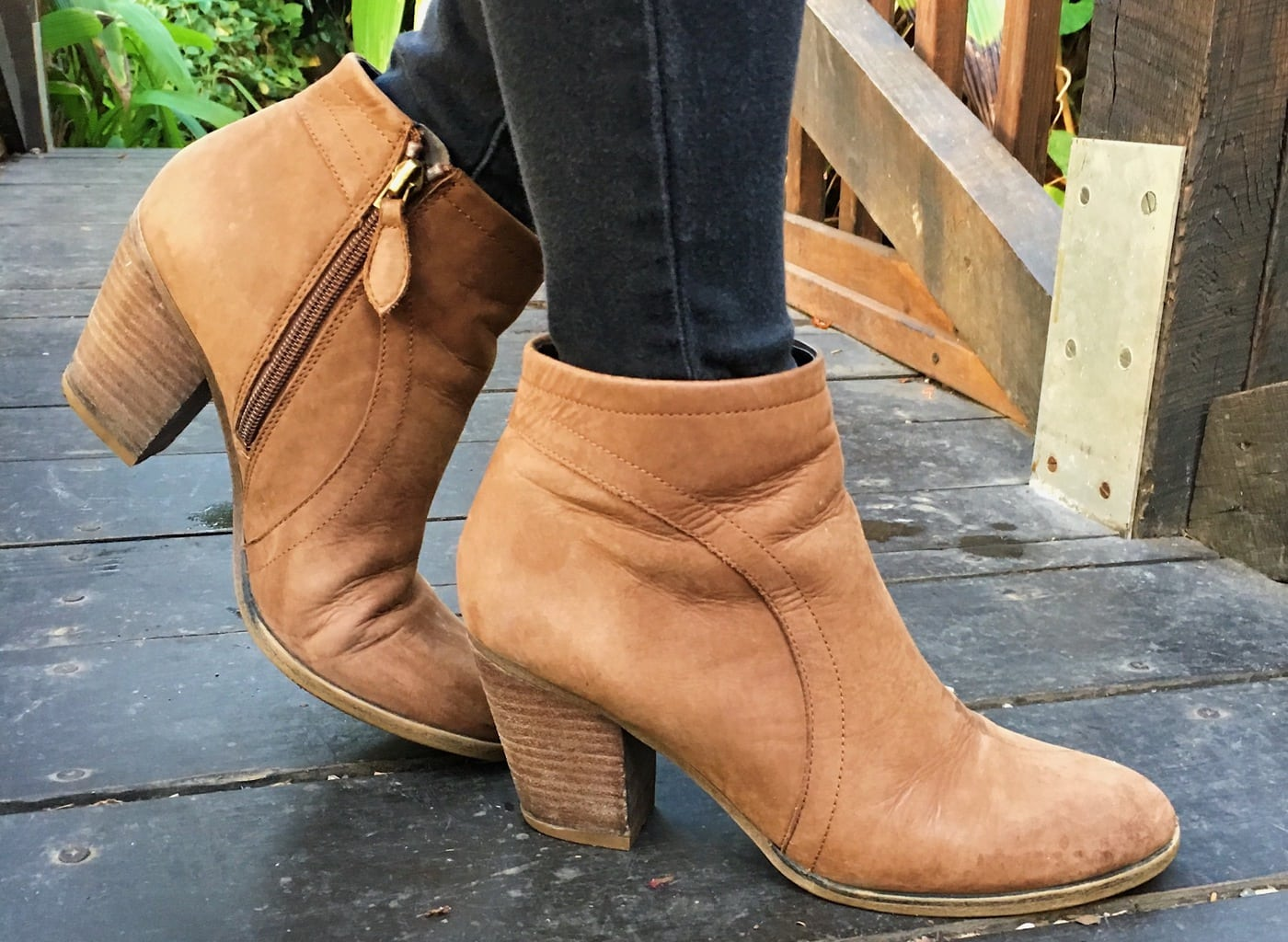 These chunky tan heeled booties are great for a stylish day at school.