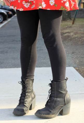 black leggings and combat boots