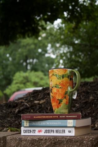 floral mug and books