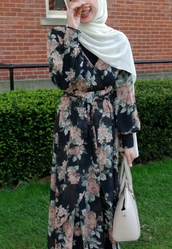 Modest outfit for summer: WVU student Talia wears an abaya and head scarf