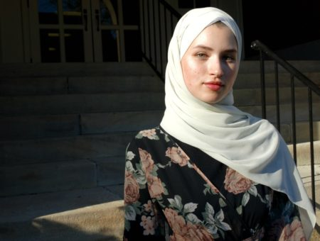 Modest college student fashion: WVU student Talia wears a hijab headscarf in beige