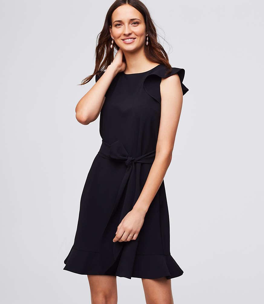 Black flutter-sleeve tie-waist dress with flounce hem