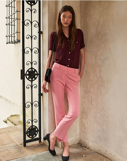 LOFT pink pants and burgundy blouse