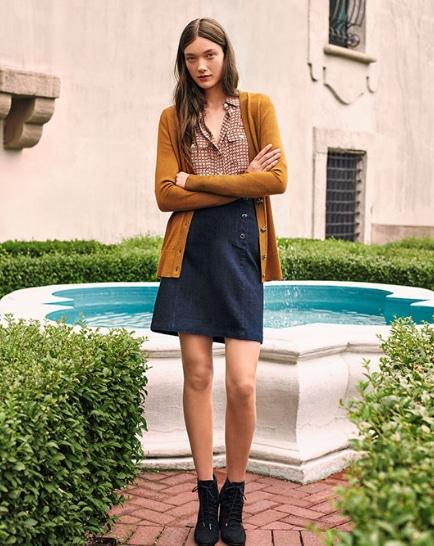 LOFT denim skirt, printed blouse, cardigan