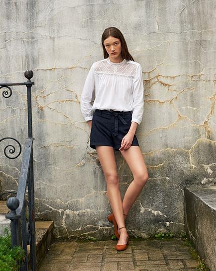 LOFT lace blouse and tie-waist shorts