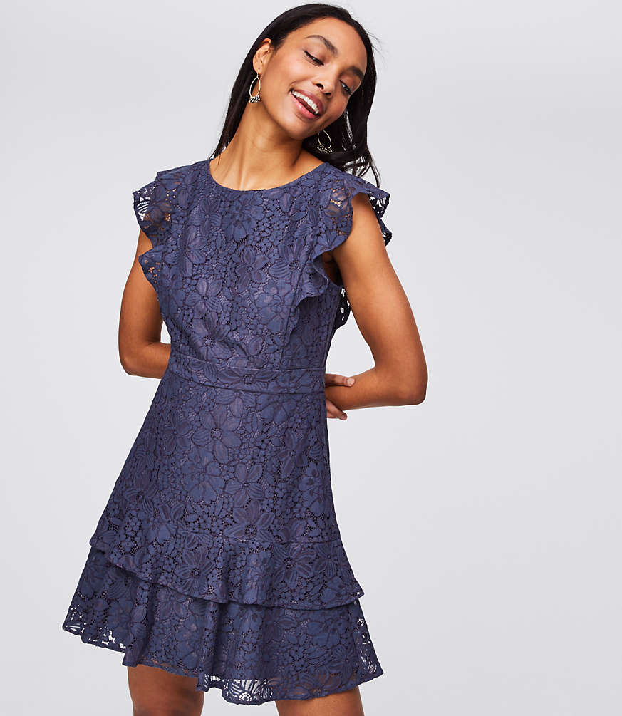 Dark blue-gray floral lace dress with flutter sleeves, waistband, and double-layer hem