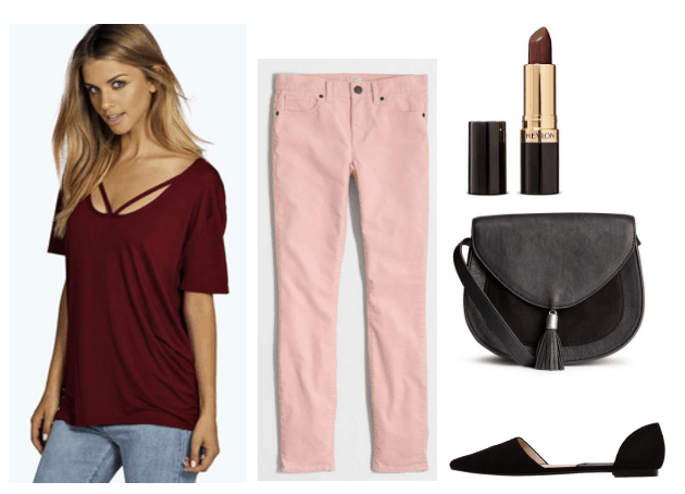 pink and burgundy outfit