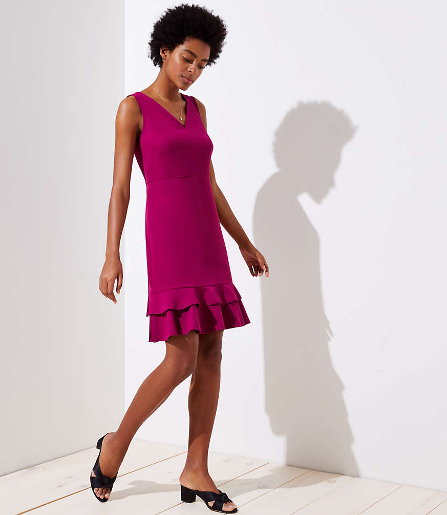 Sleeveless v-neck plum-purple tiered dress with double-layer ruffles at hem