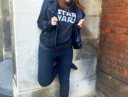 Street style at the London College of Fashion: Star Wars tee, leather jacket, boots