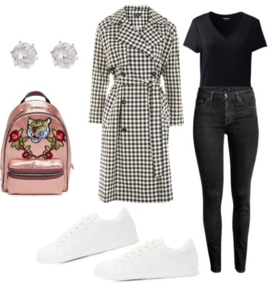 London street style inspired outfit: Checkered black and white trench, Black v-neck tee shirt, black skinny jeans, rose gold backpack with a tiger embellishment, stud earrings, white sneakers