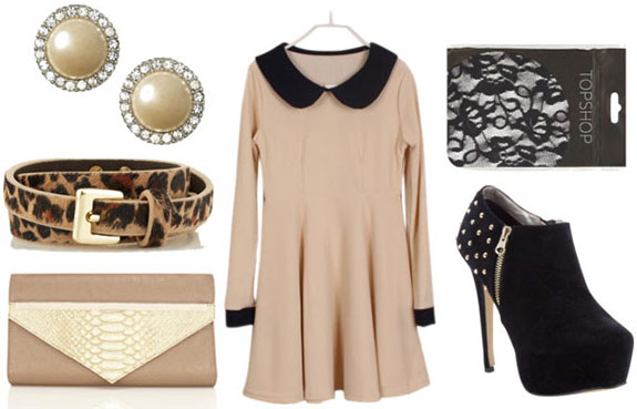 How to style a long sleeve collared dress for night with textured tights, studded ankle booties, a leopard belt, a beige clutch, and pearl studs