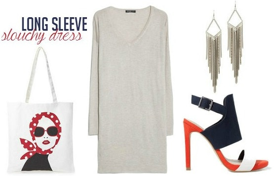 Long sleeved dress and color-blocked heels outfit