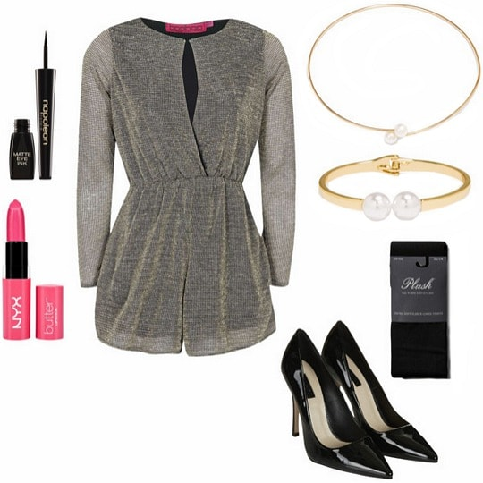 Long sleeved romper nighttime outfit
