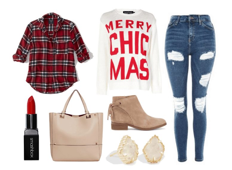 Holiday shopping outfit: Merry ChicMas white and red sweater, red and white plaid shirt, ripped skinny jeans, beige tote bag, suede ankle booties, gold and clear geode earrings, red lipstick