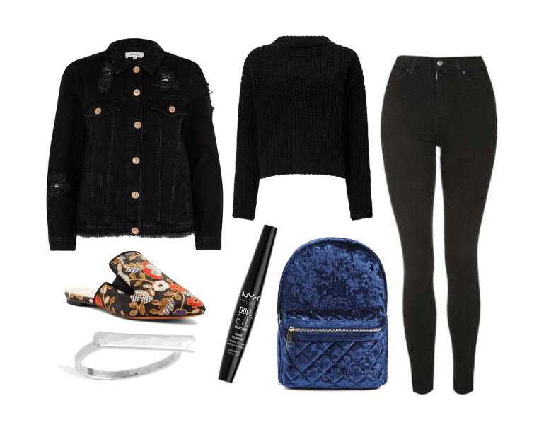 Holiday outfit: Black jeans, black sweater, black denim jacket, floral slip-on loafers, navy blue velvet backpack