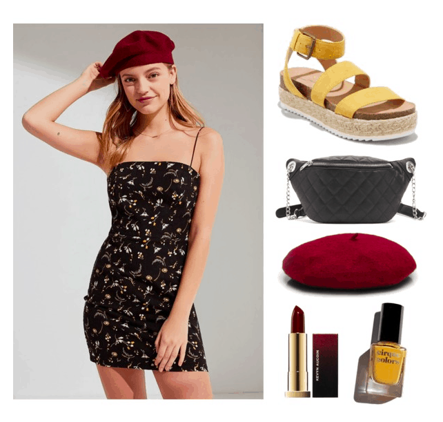 Polyvore set including: a blonde model wearing a burgundy beret and a floral shift dress, a pair of yellow strappy espadrilles, a quilted fanny pack, a burgundy beret, dark red lipstick, and yellow nail polish.
