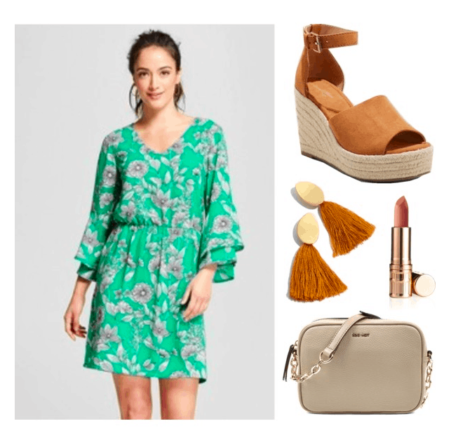 Polyvore set including: A brunette girl in a ponytail wearing a long-sleeved floral dress, a pair of espadrille wedges, a pair of rust colored tassel earrings, a lipstick, and a taupe crossbody bag.