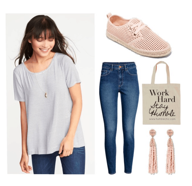 Polyvore set including: a girl with brown hair wearing a striped shirt, necklace and jeans, a pair of high-waisted jeans, a bag with a quote on it, espadrille sneakers, and tassel earrings.
