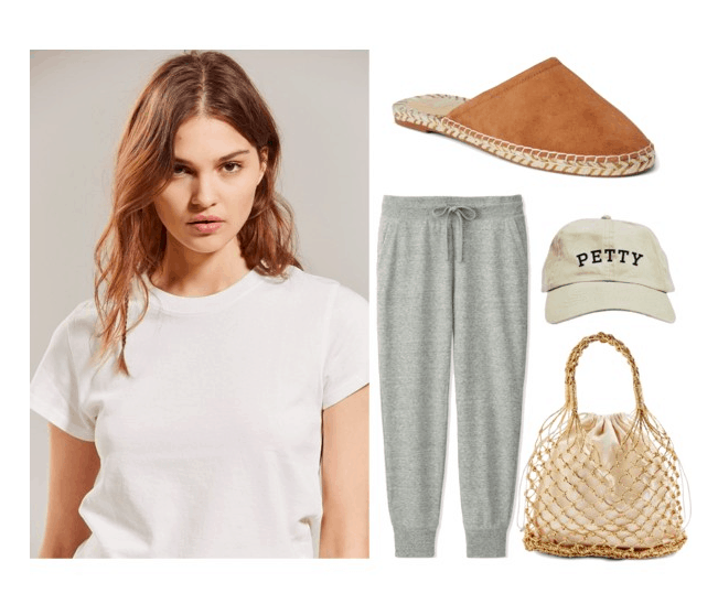 Polyvore set including: A brunette girl wearing a white tee, a pair of grey sweats, a pair of brown slide-on espadrilles, a dad hat that says petty, and a woven bag.