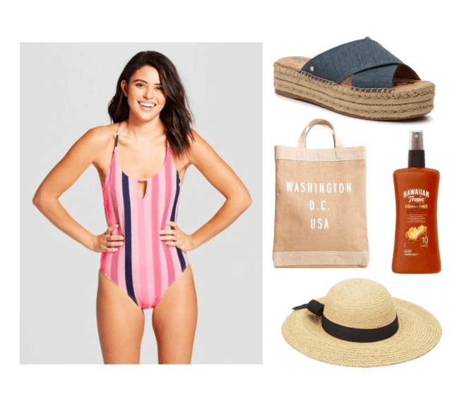 Polyvore set including: a girl brunette wearing a striped bikini, a pair of denim platform espadrilles, a burlap bag with writing on it, tanning lotion, and a sun hat.