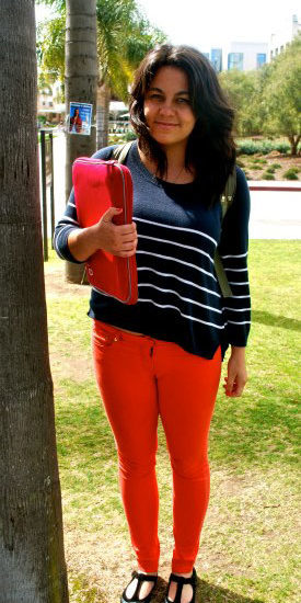 Looks on Campus: Crystal from Loyola Marymount University in red jeans and a striped sweater