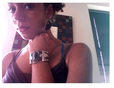 Dominique's look on campus includes vintage jewelry