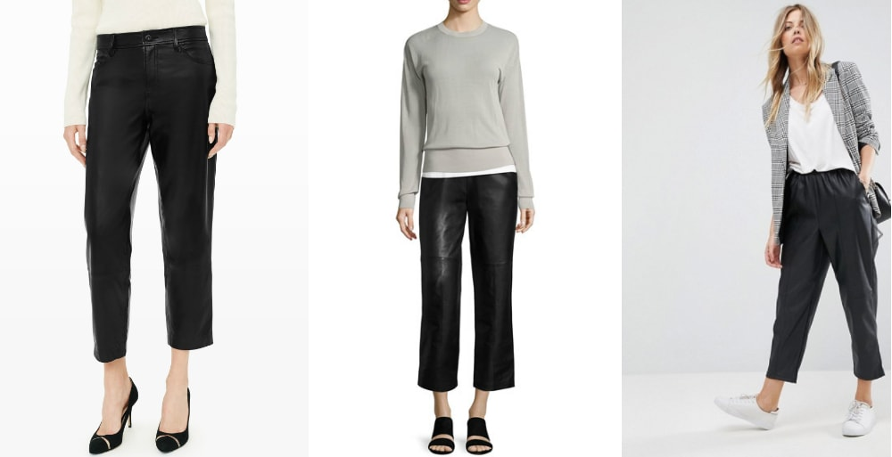 Loose leather pants trend: Club Monaco capri-length trousers, J. Brand drawstring leather pants, and ASOS faux leather tapered leg trousers.