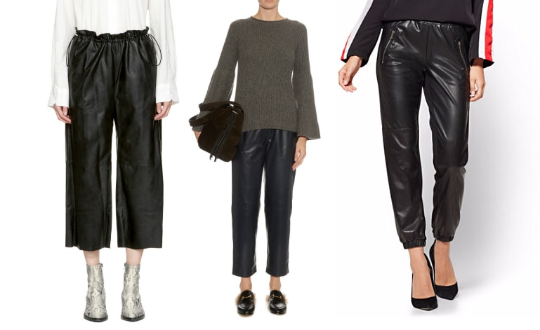 Relaxed fit leather pants: athleisure loose fit culotte MM6 Maison Martin Margelia culottes from SSENSE, smooth navy leather trousers from The Row, and faux leather sweatpants with diagonal zippers from NY&C.