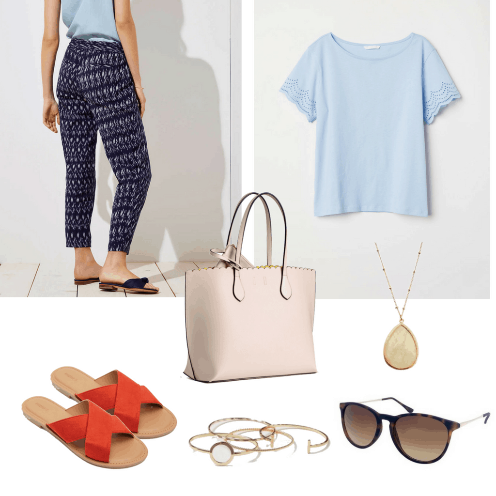 Summer equals humidity and harsh heat. Keep it breezy in loose-fitting patterned joggers and an eyelet embroidered light blue shirt.