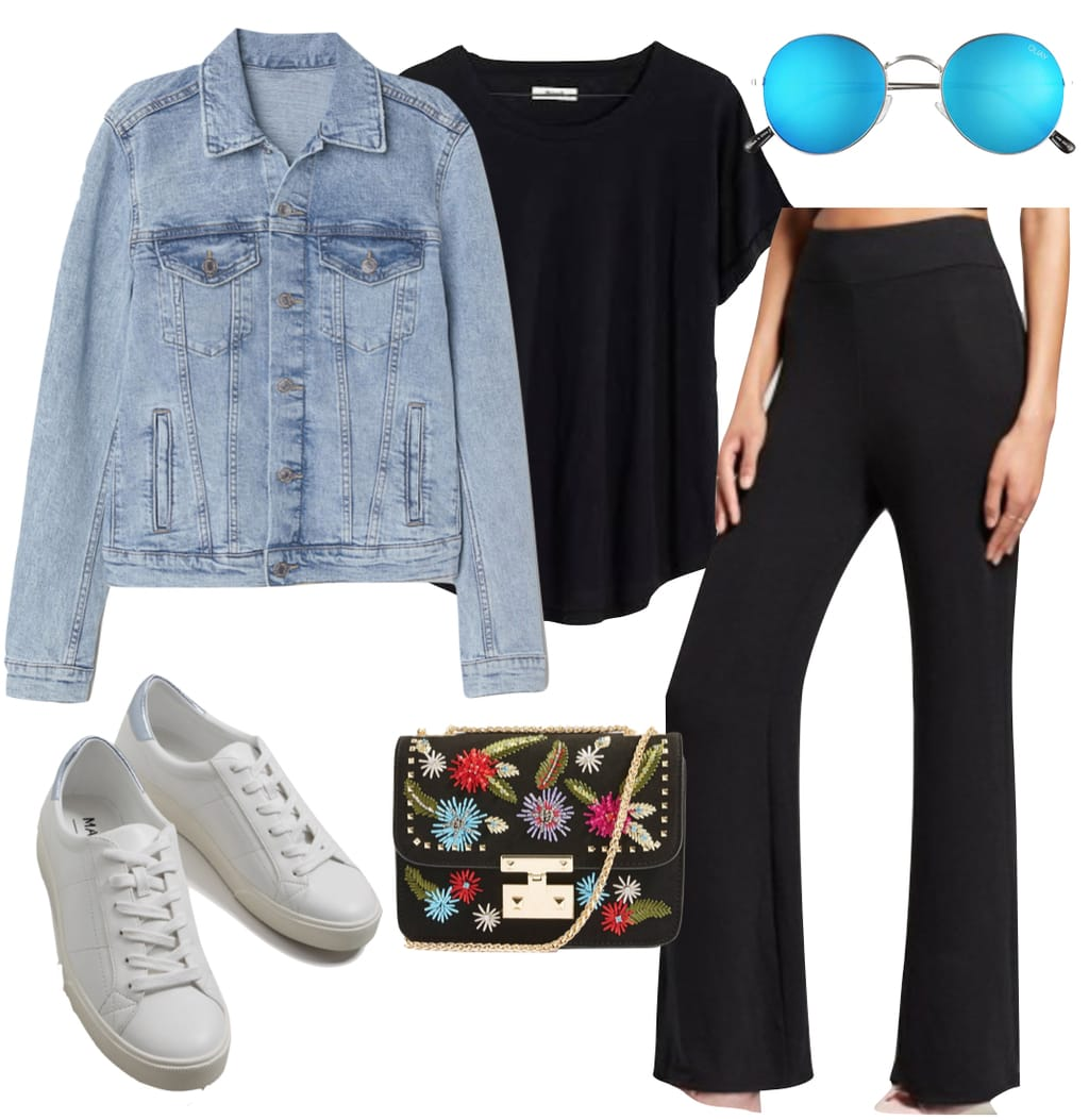 Lorena Rae Outfit: denim jacket, black crewneck t-shirt, black wide leg pants, round blue mirrored sunglasses, a black embroidered shoulder bag, and white low-top sneakers