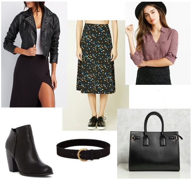 Outfit inspired by Louis Vuitton Fall 2017: Patterned skirt, studded moto jacket, brown button-down, black boots