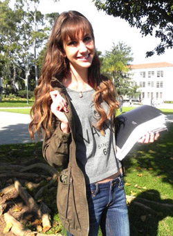 College fashionista wearing the latest trends from Loyola Marymount University