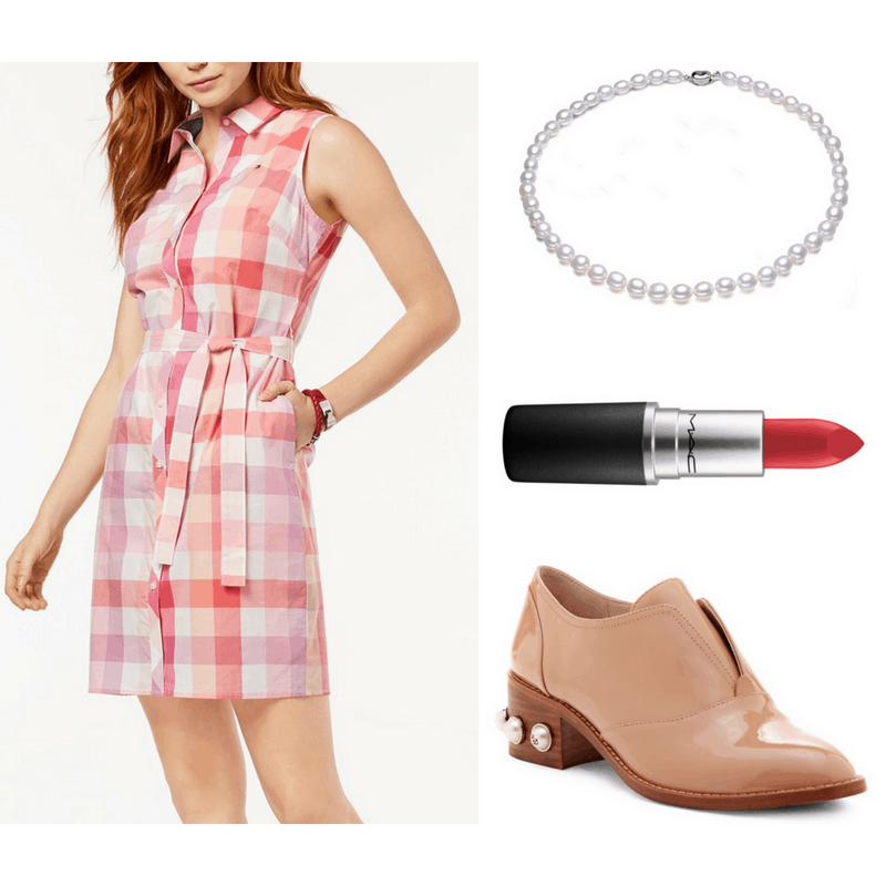 Lucille Ball style: Outfit inspired by Lucille Ball with plaid shirtdress, oxford heels, red lipstick, and pearl necklace