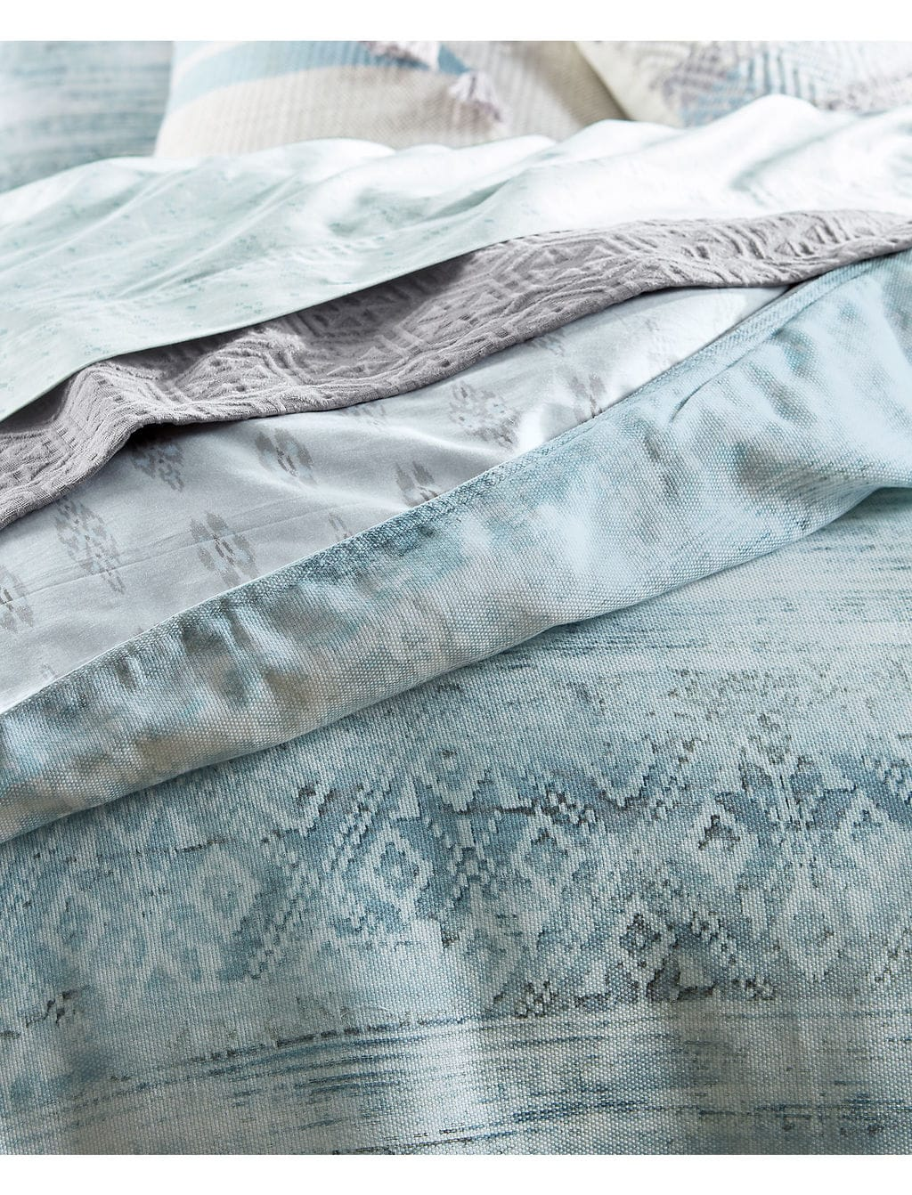 Lucky Brand's calm ocean blue cotton sheet set with light pressed dot patterns.