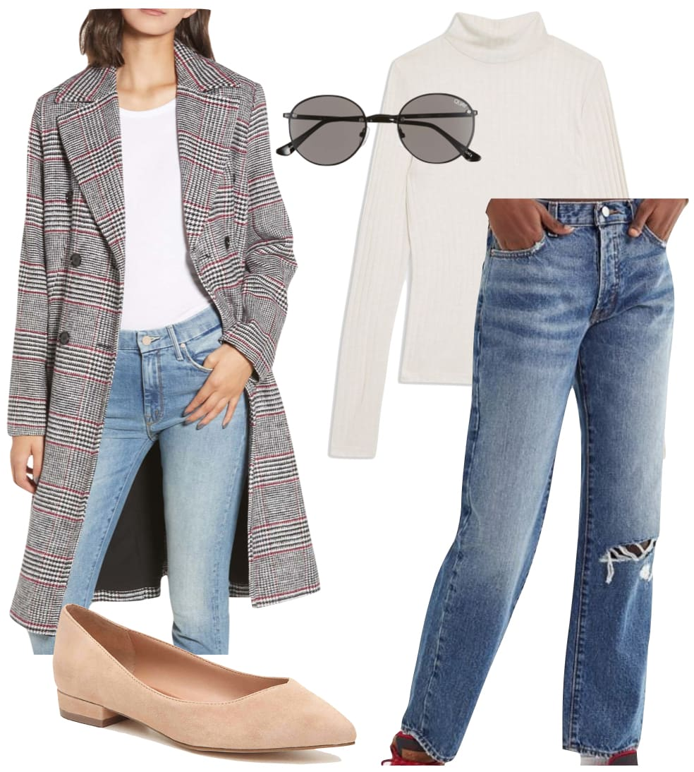 Lucy Hale Outfit: plaid long coat, cream ribbed mock neck top, ripped boyfriend jeans, black round sunglasses, and beige block heel flats
