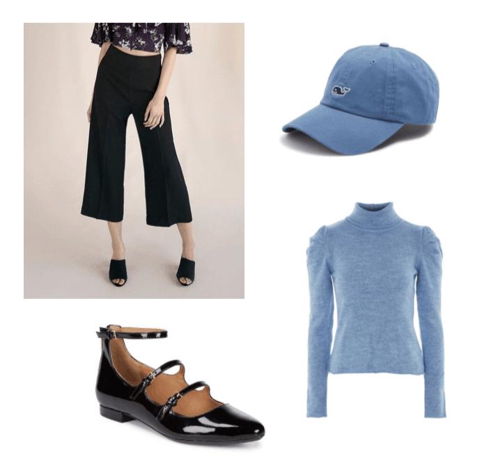 Luke Outfit Set: Blue baseball cap, blue wrinkled sleeve jumper, black culottes, black patent leather mary jane flats