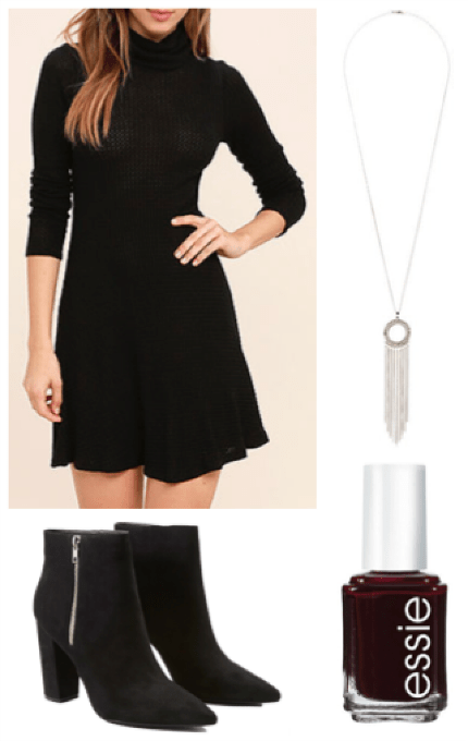 Lulu's black sweater dress and booties