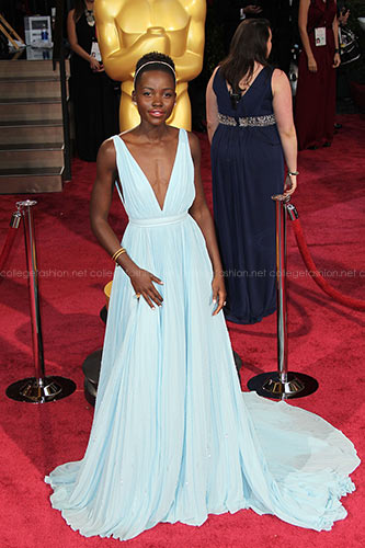 Lupita Nyongo in Custom Prada at the 2014 Academy Awards