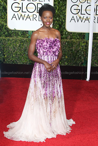 Lupita N'yongo Golden Globes 2015 in Giambattista Valli Couture
