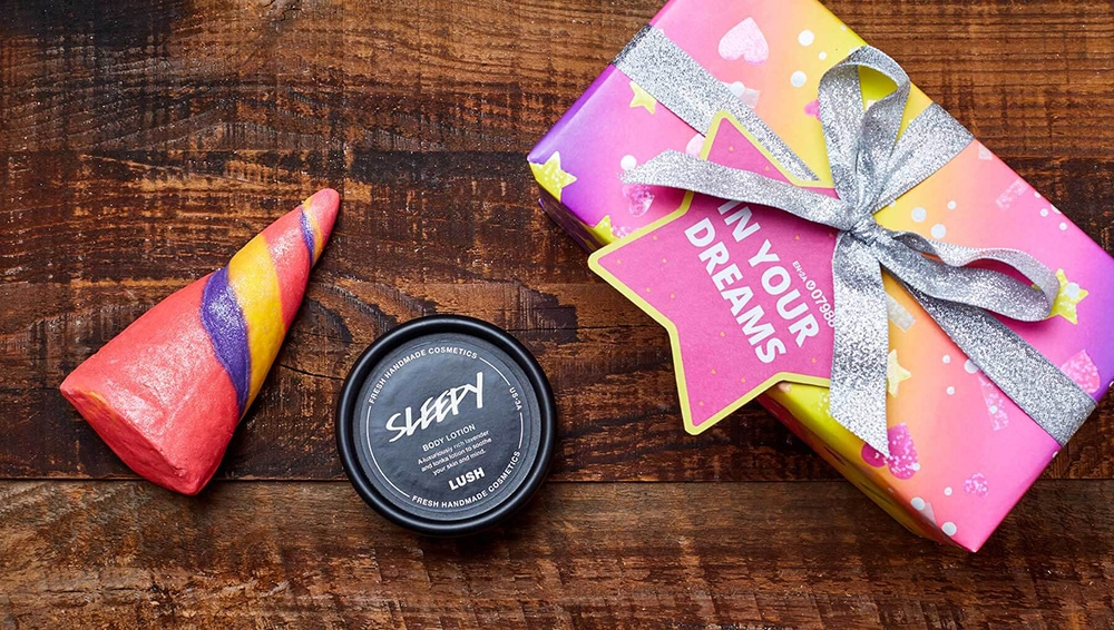 "Lush ""In Your Dreams"" Wrapped Gift, which includes Unicorn Horn Bubble Bar and small size of Sleepy Body Lotion"